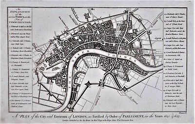 OLD ANTIQUE MAP CITY PLAN ENVIRONS LONDON c1784 ENGRAVING A HOGG / DOWNS