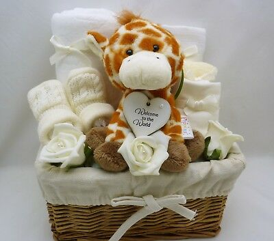 New baby neutral gift basket hamper cream Nappy cakes baby shower maternity 0-3m
