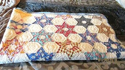1930s 6 Point Star n Cube Handcrafted Quilt  81 x 68