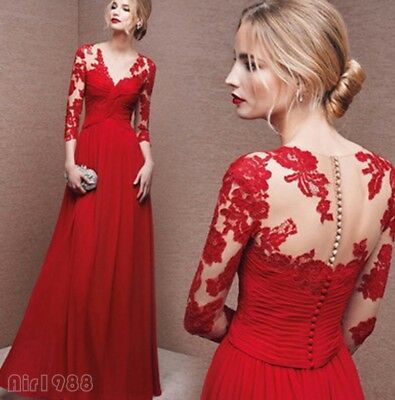 Chic 2018 Womens Wedding Long Gown Bridal Formal Lace Red Backless Party Dress