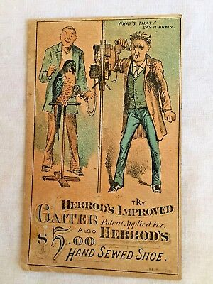 Antique Victorian Trade Card, Herrod's Shoes, Parrot, Telephone, Advertising