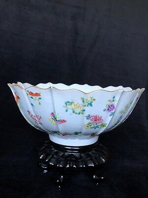 Large Chinese Qing Dynasty Famille Rose Lotus Bowl with Mark