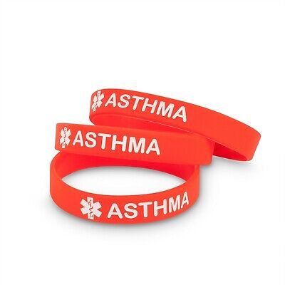 Asthma Asthmatic Medical Alert Id Bracelet Silicone Wristband Band