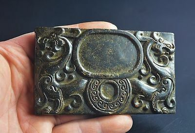 Chinese antique old natural jade hand carved dragon ink stone.