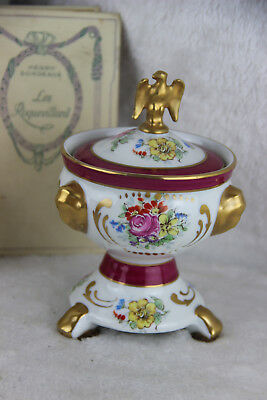 French Couleuvre porcelain limoges lidded box floral decor eagle on top