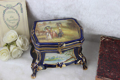 French porcelain Victorian Jewelry Box sevres marked landscape