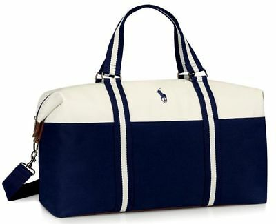 Ralph Lauren Polo Mens Weekend Holdall Sports Overnight Bag Blue & White *BNIP*