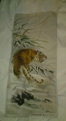 "Vintage Chinese Embroidery Panel Tiger Wall Hanging Approx Size 17"" X 38"""