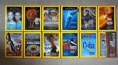 National Geographic Magazines Full Set of 12 January to December 2012 - Free P&P