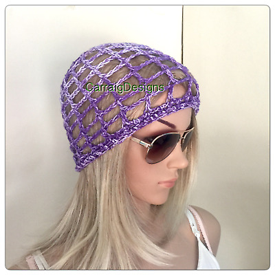 HANDMADE Summer Cotton Womens Purple Beanie hat crochet knit spring lace mesh
