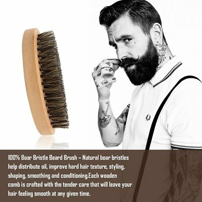Men Boar Hair Bristle Beard Mustache Brush Comb Military Hard Oval Wood Handle