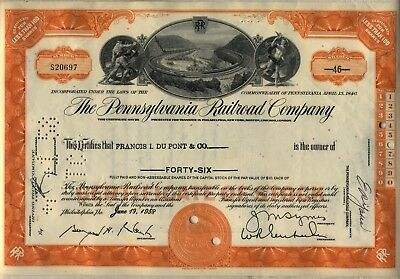 Pennsylvania Railroad Stock Certificate Horseshoe Curve Orange