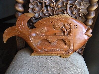 Vintage Large Hand Carved Solid Wood Fish Statue Philippines