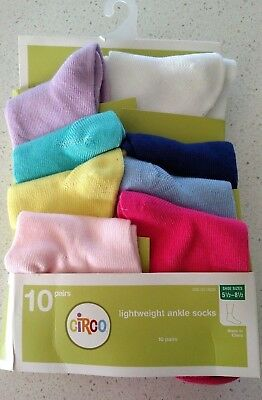 NEW 8 Pair Girls Ankle Socks Multi Color Solids Size 5.5-8.5 SEE DESCRIPTION