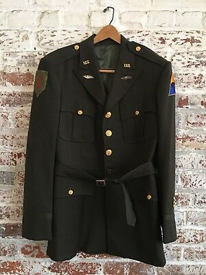 Original WWII US Army Officer's Jacket Big Red One & Armored Division Patch 38R