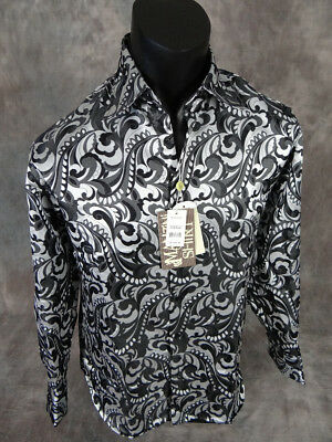 NEW Mens MANZINI Button Dress Shirt Black and Silver Paisley's Sheen French Cuff