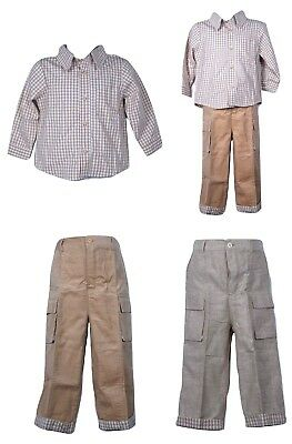 Toddler Kids Baby Boys Checkered Shirt Brown Or Cream Pants Trousers Outfits Set