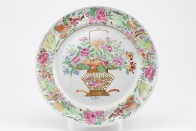 Antique Chinese Porcelain Famille Rose Plate With Basket Of Flowers Decoration