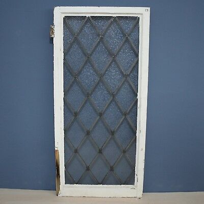 Beautiful Antique Salvaged Reclaimed Wooden Framed Frosted Leaded Glass Window