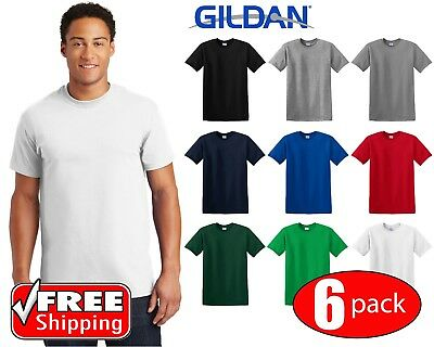 6 PACK Gildan DryBlend Short Sleeve T Shirt Mens Blank Casual Plain Tee New 8000