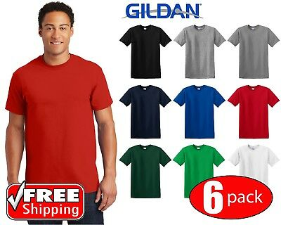 6 PACK Gildan Ultra Cotton Short Sleeve T Shirt Mens Blank Casual Plain Tee 2000