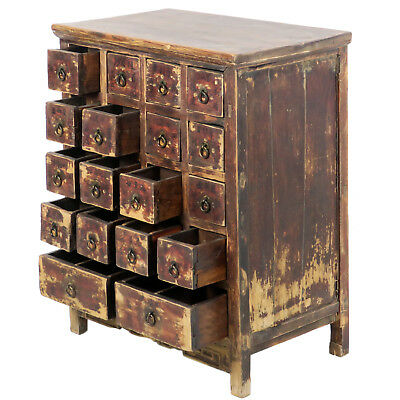 """Antique Chinese Asian 18 Drawer Herb Medicine Apothecary Cabinet 27"""" Wide 34"""" T"""