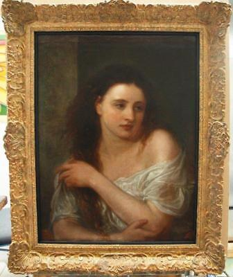LARGE 19th Century FRENCH Portrait Study Young Lady Antique Oil Painting