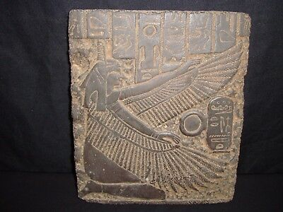 Rare Antique Ancient Egyptian Stela Goddess Isis Winged Health 1940-1740 BC