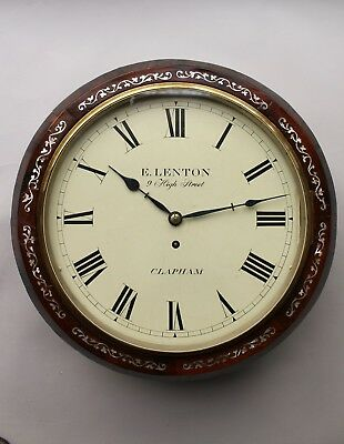19th Century Rosewood Fusee Wall Clock Clapham