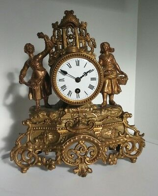 C19th JAPY FRERES Rococo French Ormolu  Gilt Brass, lady figures,  Mantle Clock