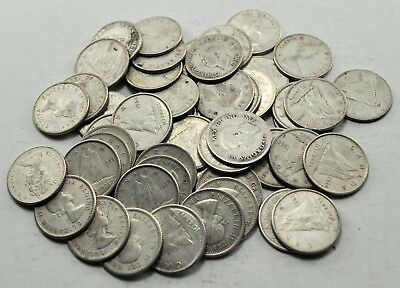 Lot of 50 Canadian Circulated 80% Silver Ten Cent Coins random 1940-1966 (#1050)