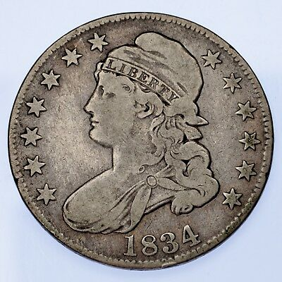 1834 50C Capped Bust Half Dollar VG+ Condition, Natural Color, Strong Detail