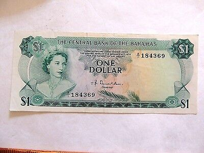1974 Central Bank Of The Bahamas One ($1) Dollar Note Uncirculated