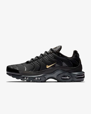 pretty nice 520a8 0ae2c NIKE AIR MAX Plus TN Tuned 1 Black Gold Sneakers Trainers Shoes 6 7 8 9 10  11