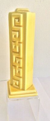 HOT! Canary Yellow Bud Vase with Versace Style Fret Design, Hollywood Regency