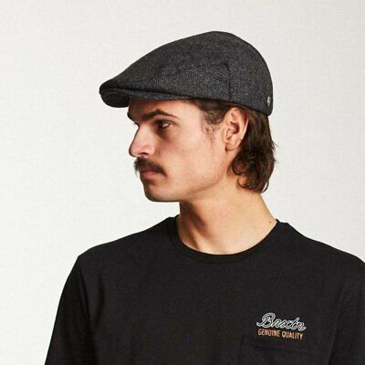 Brixton Hooligan Flat Cap - Grey/black Herringbone