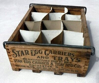 Antique Star Egg Carriers and Trays wooden egg carrier for 12 eggs with liner