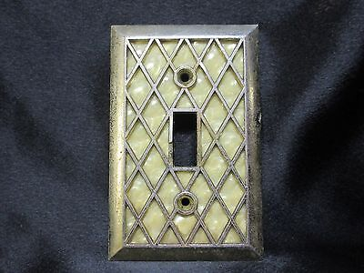 Mid Century Brass Zigzag Design Single Light Switch Cover with Pearl Backing
