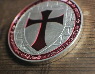 Templar Knight Crusader Challenge Coin 1 Ounce Silver Plated w Case OMCE Shield