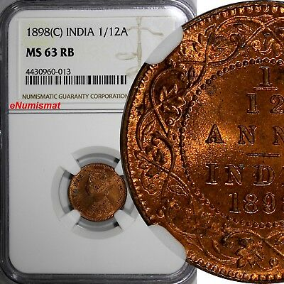 India-British Victoria Copper 1898 (C) 1/12 Anna NGC MS63 RB NICE RED KM# 483