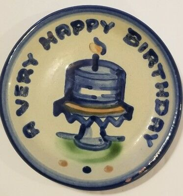 """M.A.Hadley Pottery """"A Very Happy Birthday To You"""" Plate Hand Painted Signed~AA15"""