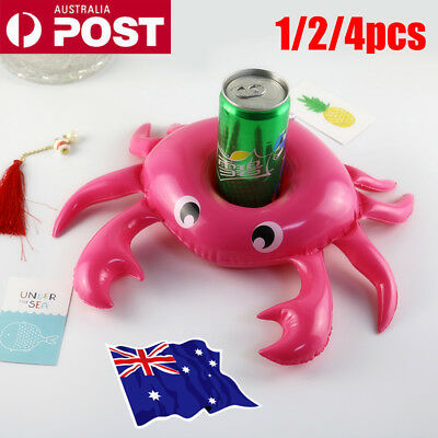 1-4x Crab Swimming Inflatable Floating Boat Drink Can Cup Holder Bath Beach  NW