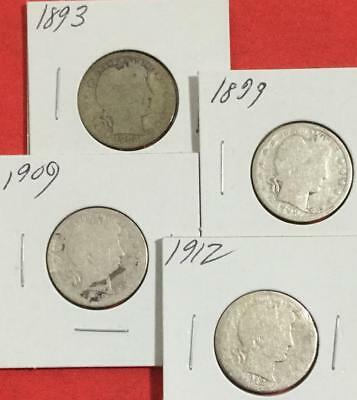 1893 1899 1909 & 1912 US Barber SILVER Quarters SEt of 4 Carded Coins!