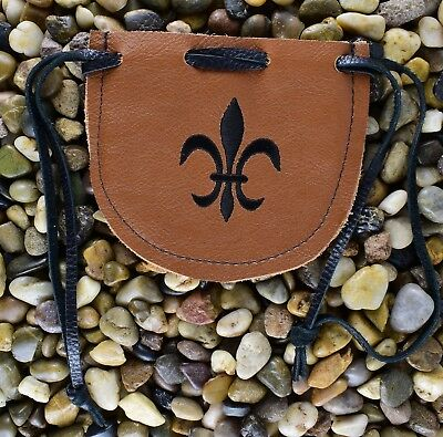 "Medieval Handmade Leather Drawstring Pouch Bag -  Renaissance 4.5"" x 5"""