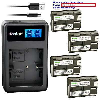 Kastar Battery LCD Dual Charger for Canon BP-511 BP-511A EOS 40D EOS 50D EOS D30