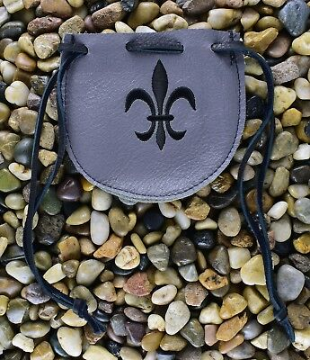 Medieval Handmade Leather Drawstring Pouch Bag -  Renaissance Gray various sizes