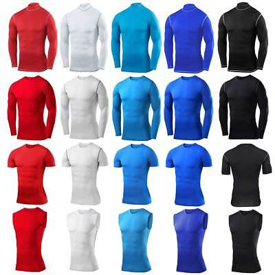 UK Mens Base Layer Under Body Armour Compression Top Vest T-Shirt Gym Wear