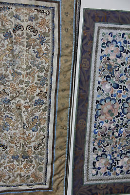 Set Of Two Pair Of Chinese Qing Period Silk Embroidery Antique Sleeves