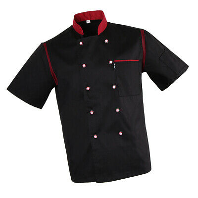 Unisexe Chef Veste Air Mesh Manches Courtes Double Breasted Professionnel
