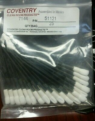 """Cleanroom Industrial Swabs** Coventry 51121 Wrapped Polyester Swab, Length 2.8"""""""